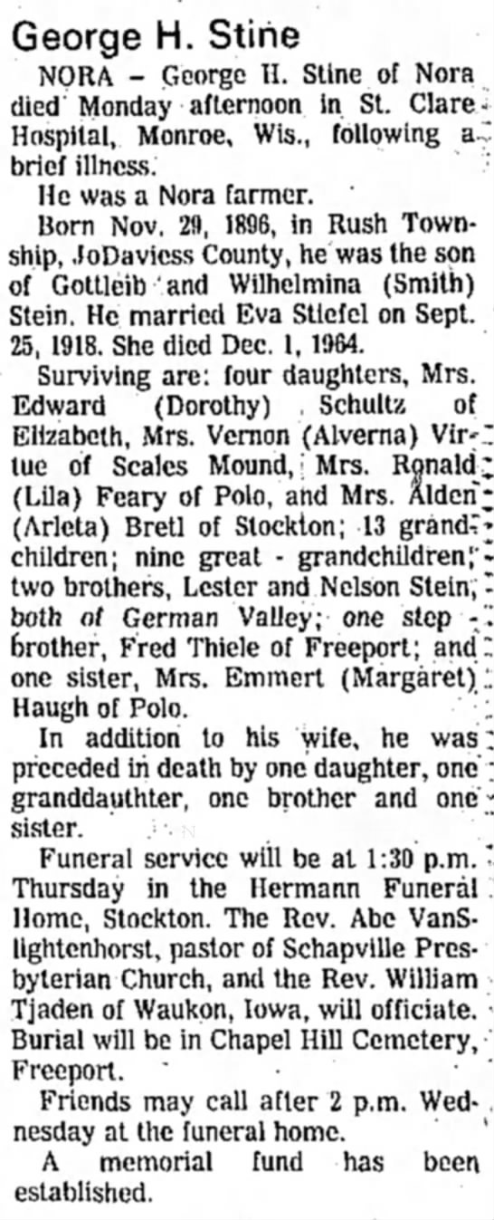 George H Stine obit (1977) -