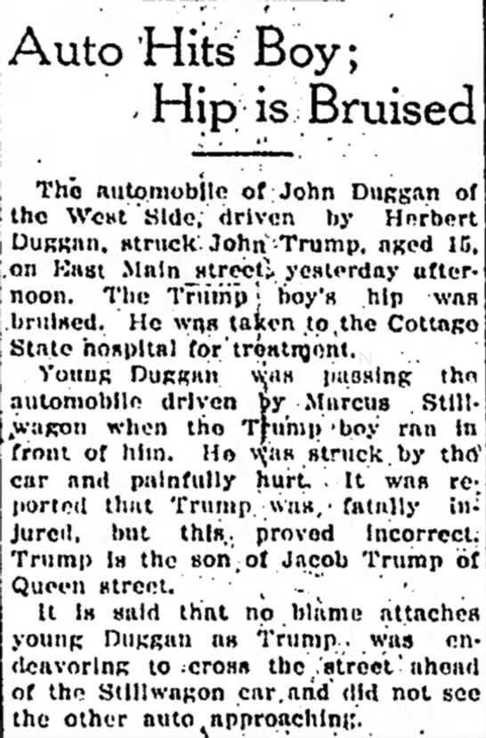 "John Trump ""15 yrs old"" gets hit by car -"