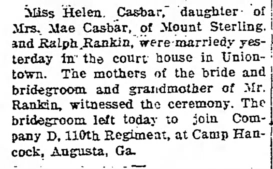 Helen casbar married to ralph rankin page 2 the daily courier january 30 1918 -