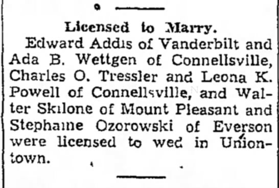 ada b wettgen licensed to marry edward addis page 2 the daily courier july 15 1939 -