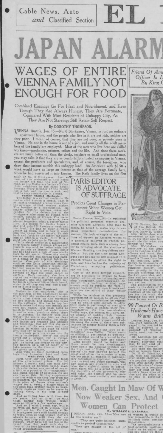 Jan 1921 Vienna article by Dorothy Thompson - Cable News, Auto and Classified Section JAPAN...