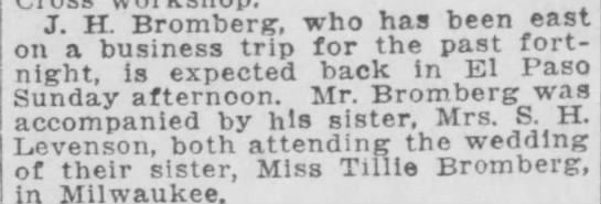 J H Bromberg and sister attend wedding of sister in Milwaukee 1918 -