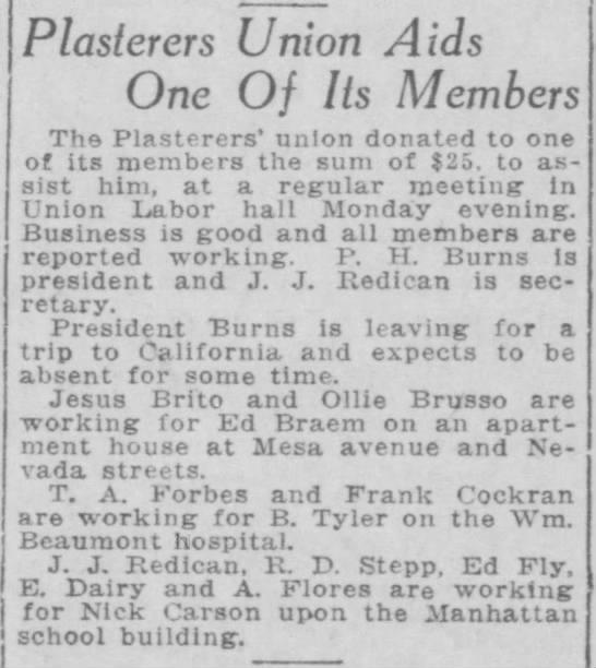 1922-09-19-14 Ed Braem - Plasterers Union Aids One Of Its Members Th©...