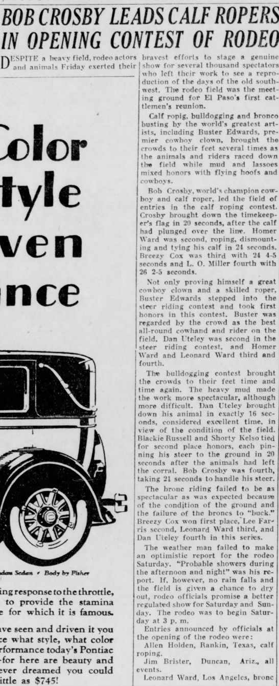 Shorty Kelso; El Paso, TX 25  Aug 1928 -