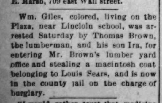 Thomas Brown  Arrest Burglar  Fort Scott Weekly Tribune 31
