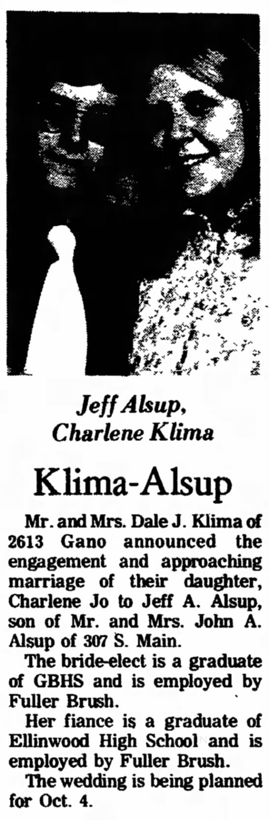 Jeff Alsup and Charlene Jo Klima Engaement -