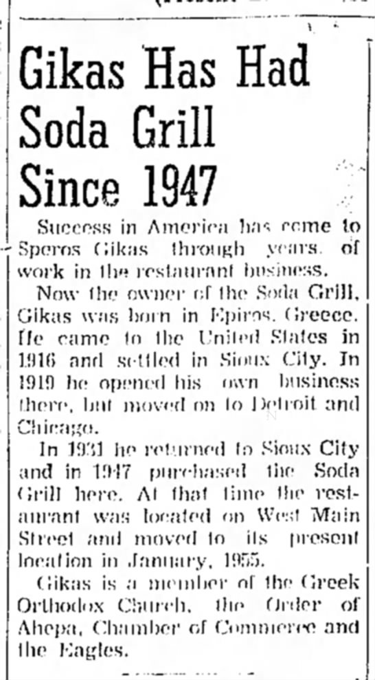 Gikas Has Had Soda Grill Since 1947 -