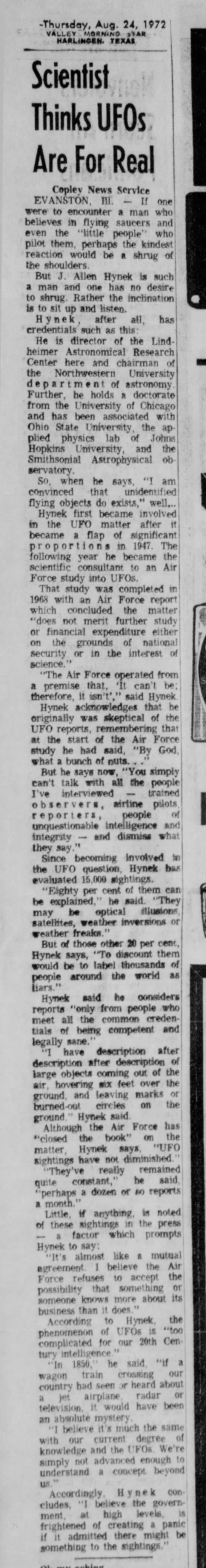 Scientist Thinks UFOs Real - VMS Aug 24 1972 -