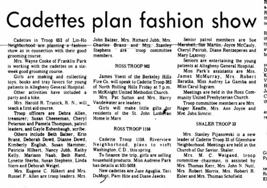- Cadettes plan fashion show Cadettes in Troop...
