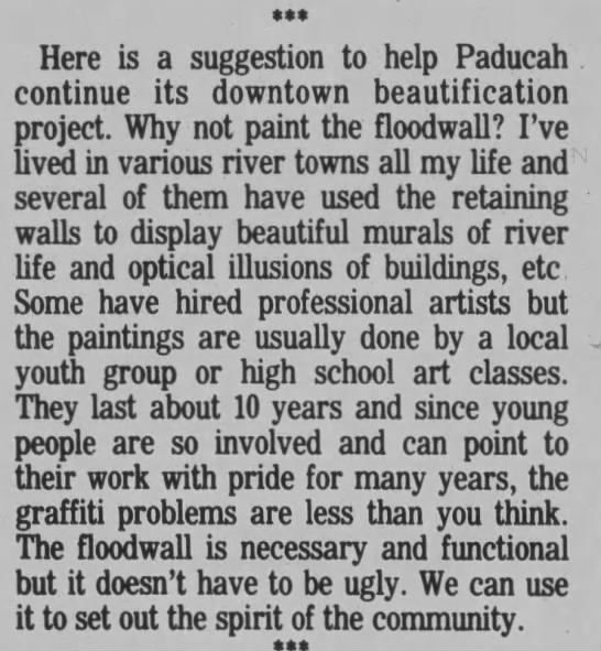 Paducah Sun reader suggests painting murals on the floodwall -