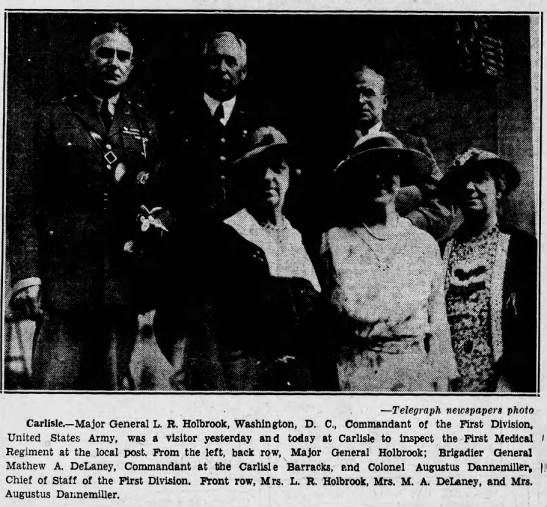 H T pg 13, 06-25-1935,. PHOTO, B Gen M A Delaney and wife inspection at Carlisle  -