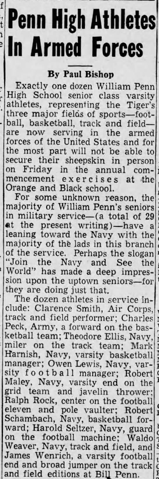Theodore Ellis Track team Navy May 1944 -