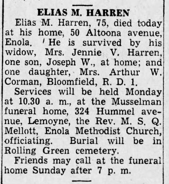 Harrisburg Telegraph 18 Oct 1946 Elias Harren -