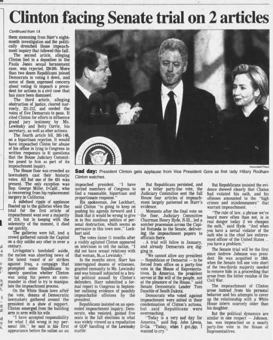 Bill Clinton Impeached 14a Newspapers Com