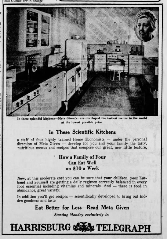 1941-04 (Apr) 18 HarrTelPA-Ad_HowaFamilyof4EatWell_starts Ad with Picture of her and her kitchen -