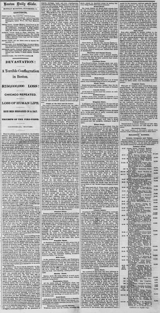 Report of the Great Boston Fire -