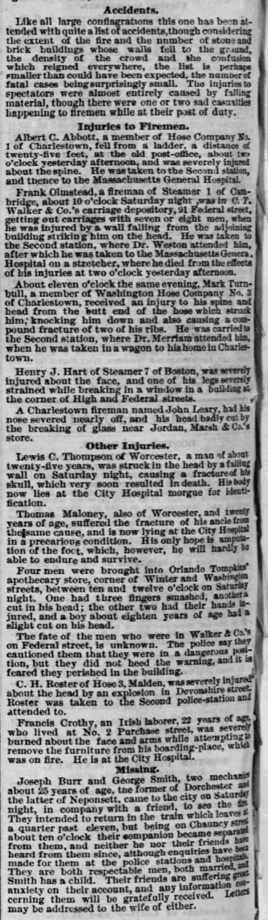 Injuries and deaths due to the Great Boston Fire -