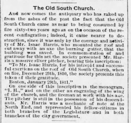Old South Church came close to burning down in 1810 and 1872 -
