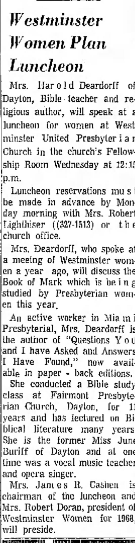Deardorff - June Buriff Xenia Daily Gazette (Xenia, Ohio) 8 March 1968 p 2 -