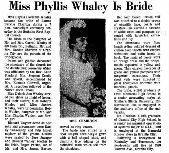 Phyllis Whaley Charlton wedding 1968 -