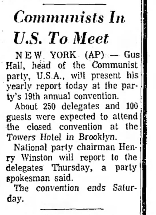 Apr 1969, Convention - Communists In U.S. To Meet N E W YORK (AP) -...