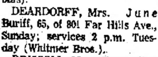 Deardorff - June Buriff Xenia Daily Gazette (Xenia, Ohio) 27 July 1970 p 5 obit -