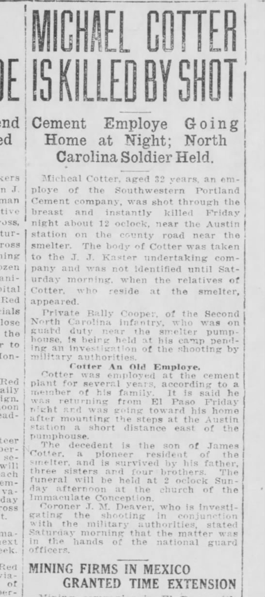 Michael Cotters Shooting Feb 17 1917 -