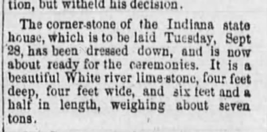 Cornerstone--Fort Wayne Daily Gazette 9-26-1880 -