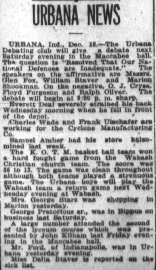 Urbana News from Ft Wayne Journal-Gazette Dec 19 1915 page 40 -