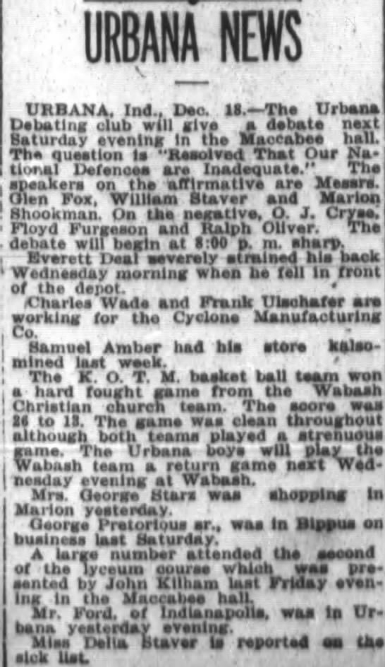 Urbana News from Ft Wayne Journal-Gazette Dec 19 1915 page 40 - URBANA, Ind.. Dec, Il. - The i Urban ieturdev...