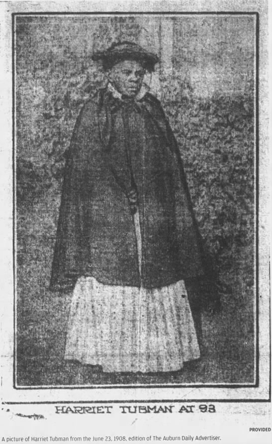 Picture of Harriet Tubman at age 93 reprinted from a 1908 newspaper -
