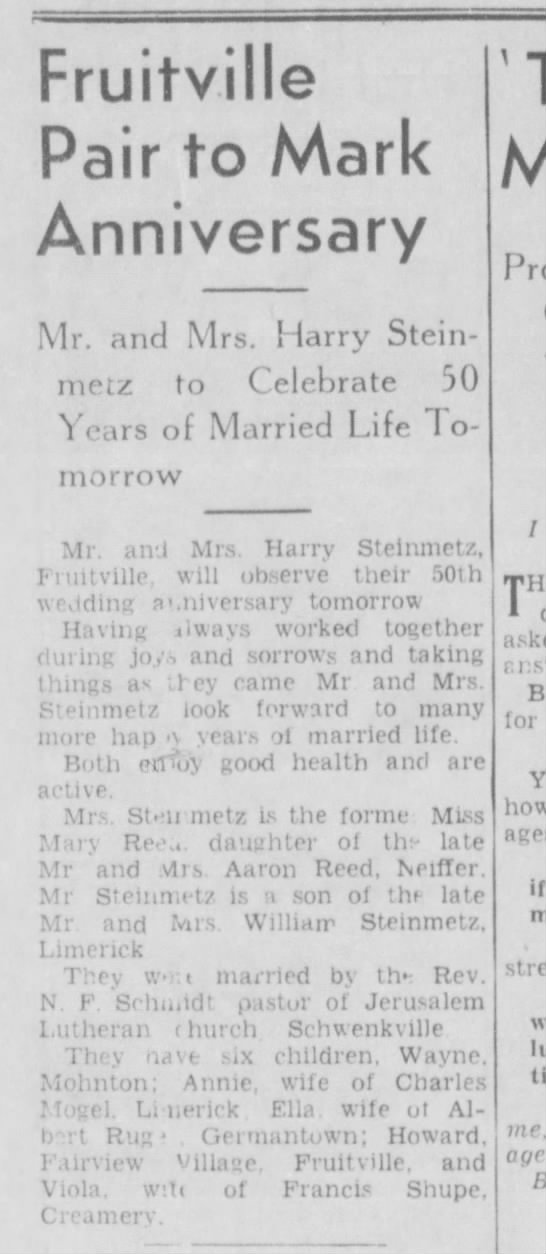 Harry Steinmetz Anniversary - Fruitville Pair to Mark Anniversary Mr. and...