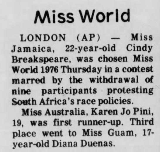 19_November_1976_The_Mercury_Pottstown_Pennsylvania - Miss World LONDON (AP) — Miss Jamaica,...