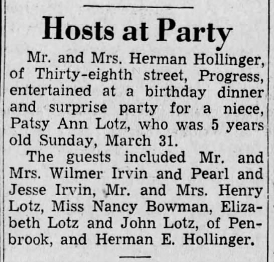 - Hosts at Party Mr. and Mrs. Herman Hollinger,...