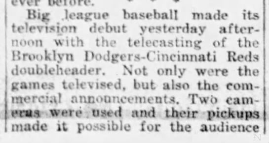 First televised MLB game, 1939 -