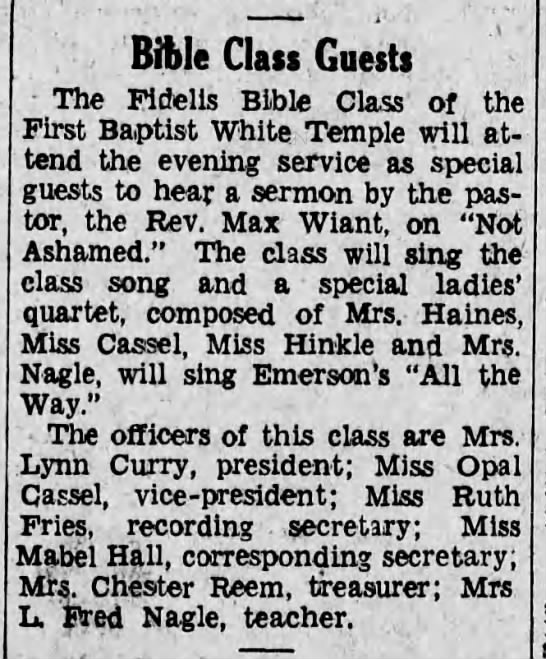 1930 Mrs. Louise Lynn Curry Sr pres of Fidelis SS class -