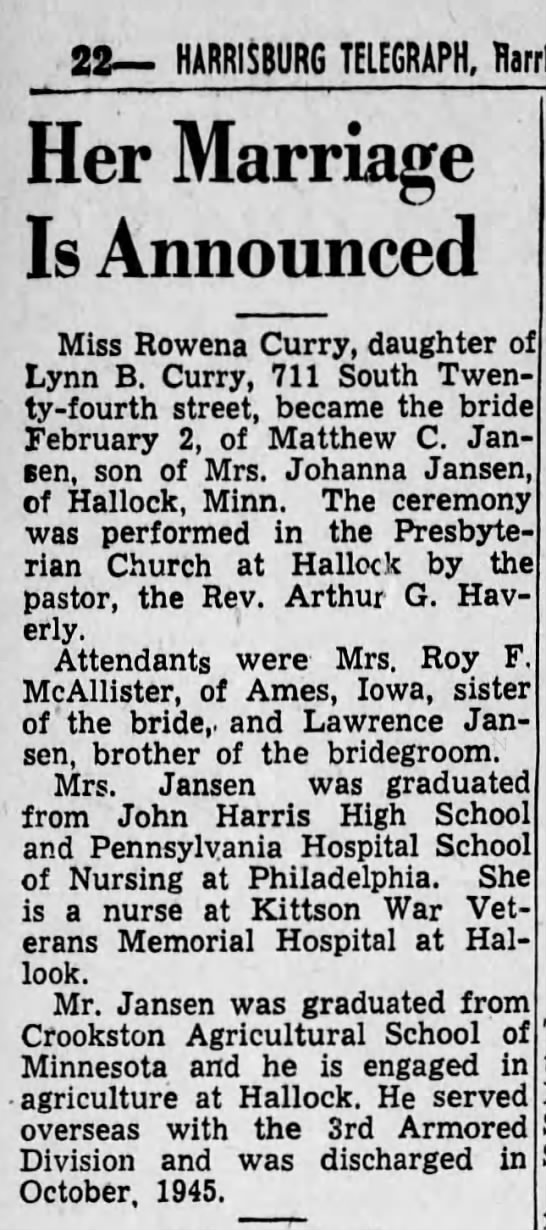 1947 Rowena Curry marries Matthew C Jansen -