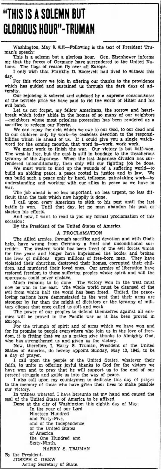 Text of Truman's VE Day speech -