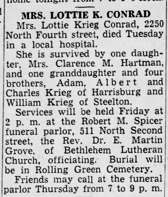 Lottie Krieg_Harrisburg Telegraph_5 Apr 1944 -