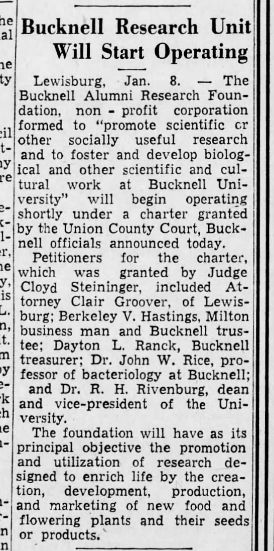 Bucknell Research Foundation in Harrisburg Telegraph, 8 Jan. 1942, p. 2 -