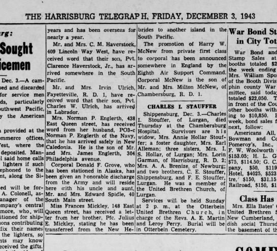 1943 December 3 Harrisburg Telegraph -