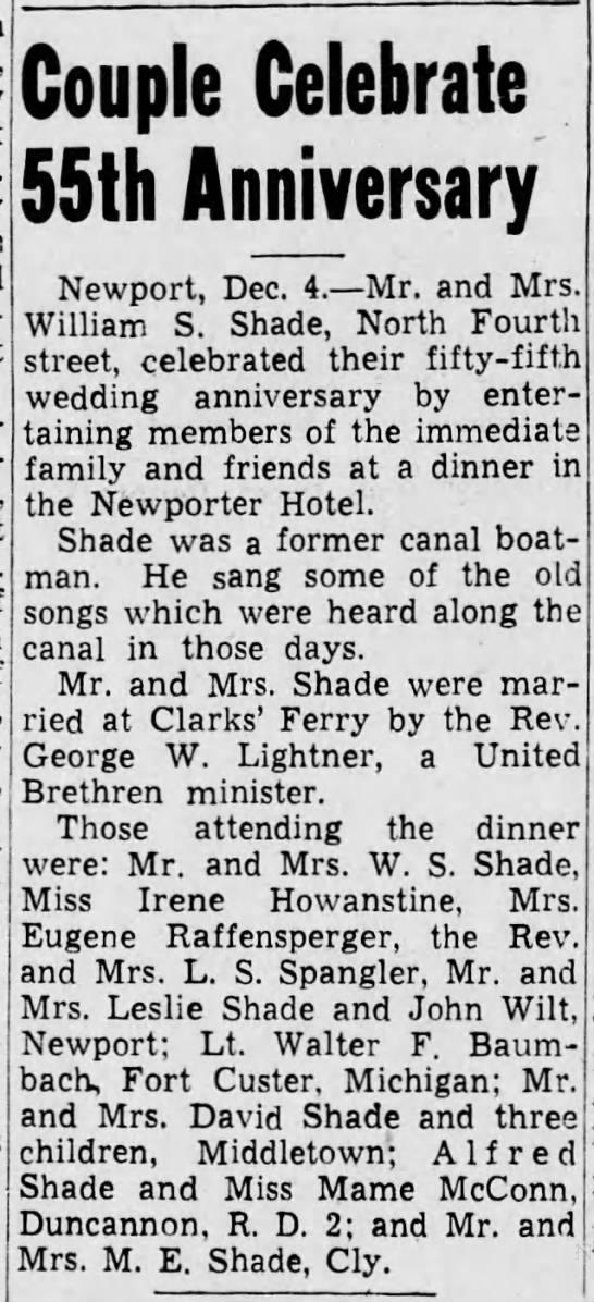 1943 MM Wm S Shade celebrat 55th anniversary w John Wilt from Newport -
