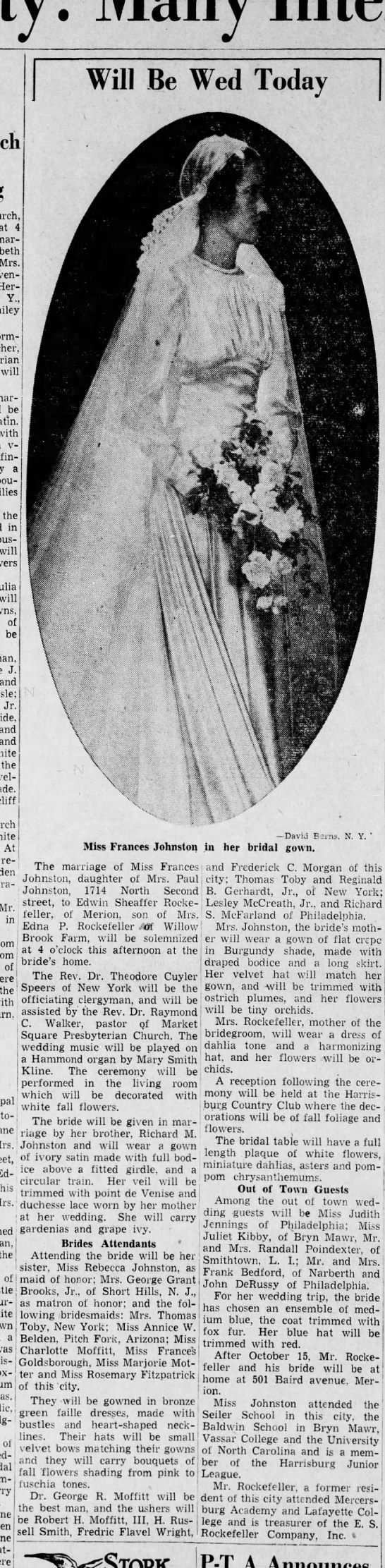 es rockefeller & Frances Johnston wedding Harrisburg Telegraph 9/23/1939 -
