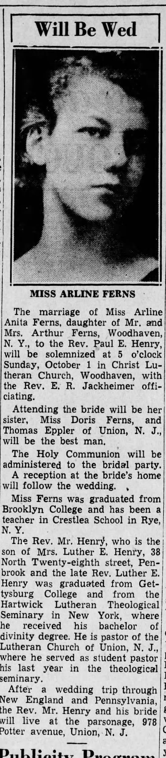 Harrisburg Telegraph 9-27-1939 - Will Be Wed . - V h I 'Ik MISS ARLINE FERNS The...
