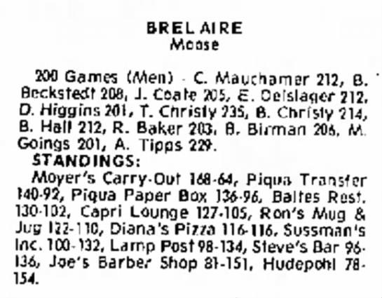 bowling - 614 B R E L A I R E Moose 200 Games (Men) - C....
