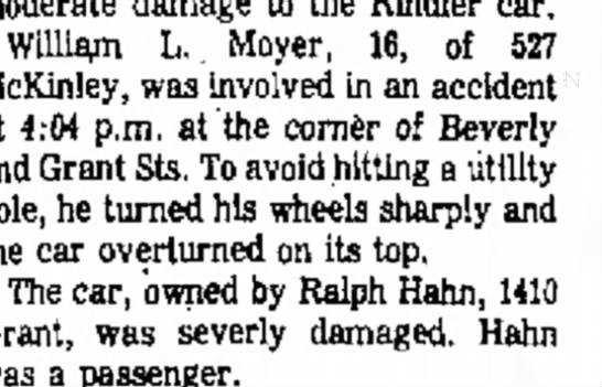 half brother bill - William L.. Moyer, 16, of 527 McKinley, was...