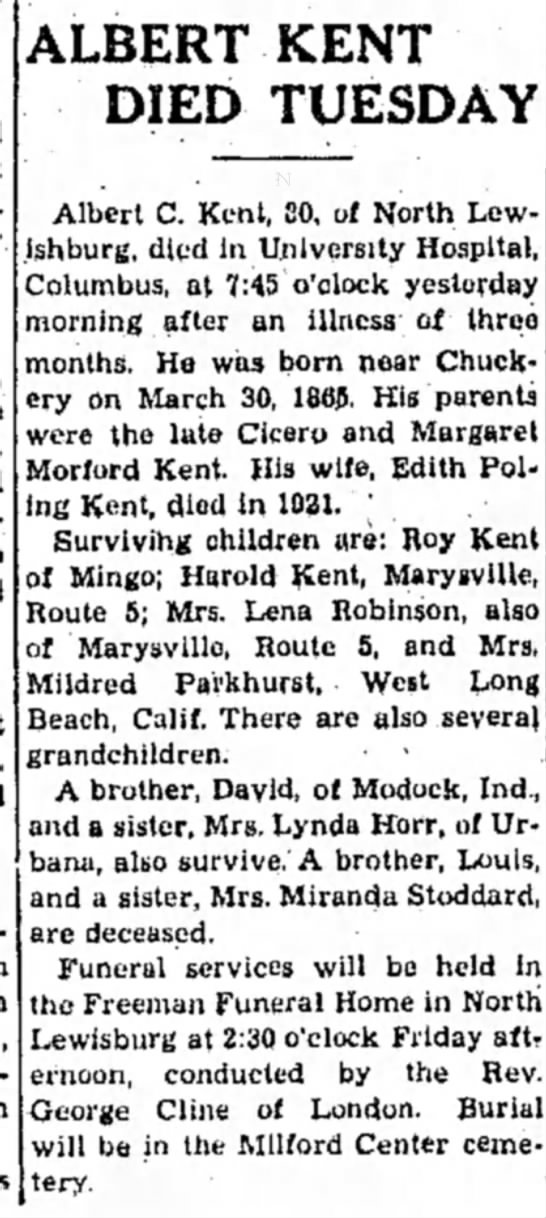 Albert Kent obituary (1945), The Marysville Tribute (Marysville, Ohio), 19 September 1945, Page 3 -