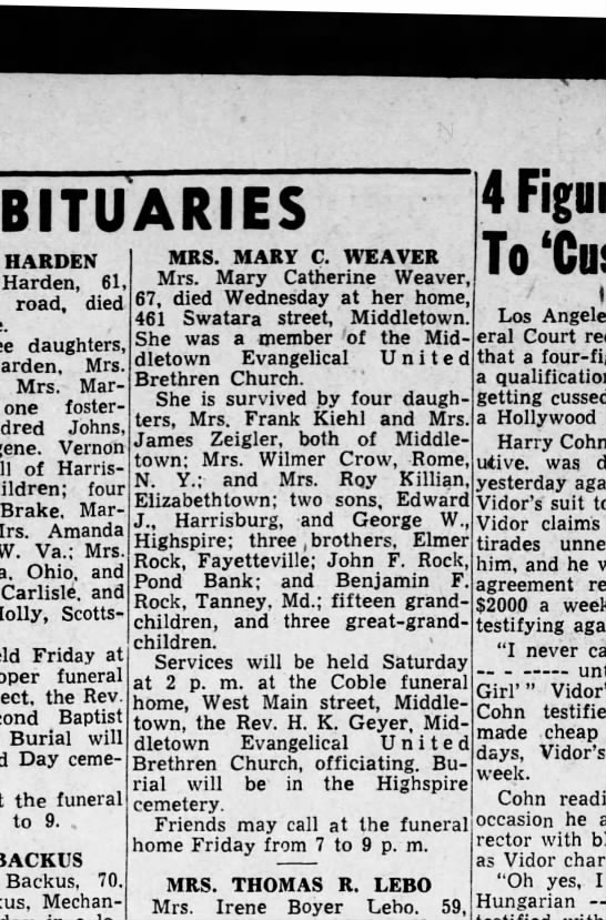 1946 December 12 Harrisburg Telegraph - OBITUARIES HARDEN Harden, 61, road, died...