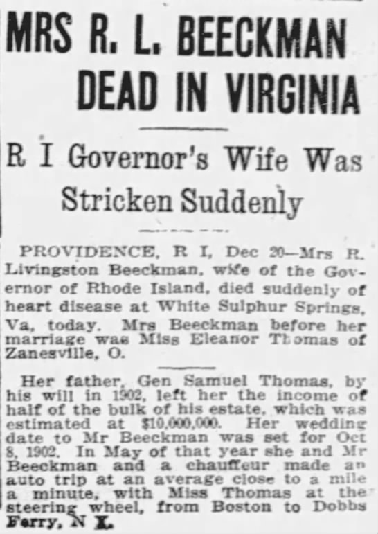 MRS R. L. BEECKMAN DEAD IN VIRGINIA -- R I Governor's Wife Was Stricken Suddenly -
