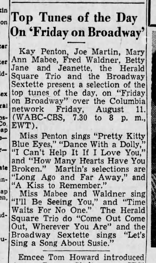 "Pops Sings on the Radio, August, 1944.  Note:  he is referred to as ""Fred"" and not ""Paul"". -"